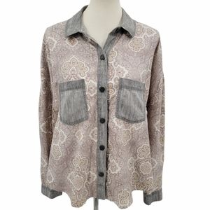 Free People Grey Paisley Chambray Button Down Top
